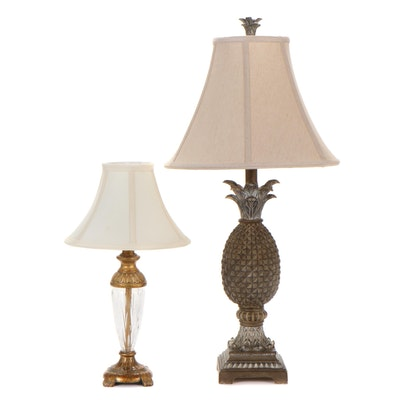 Berman and Other Pineapple Base Table Lamps, Late 20th Century