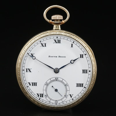 1915 South Bend Gold Filled Open Face Pocket Watch