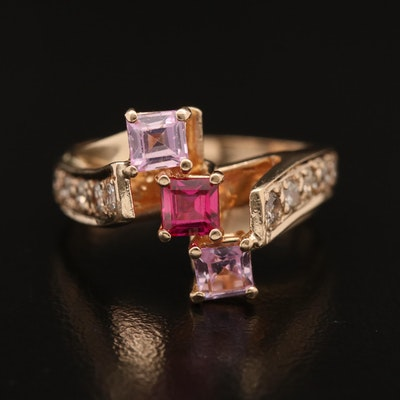 14K Ruby, Sapphire and Diamond Bypass Ring