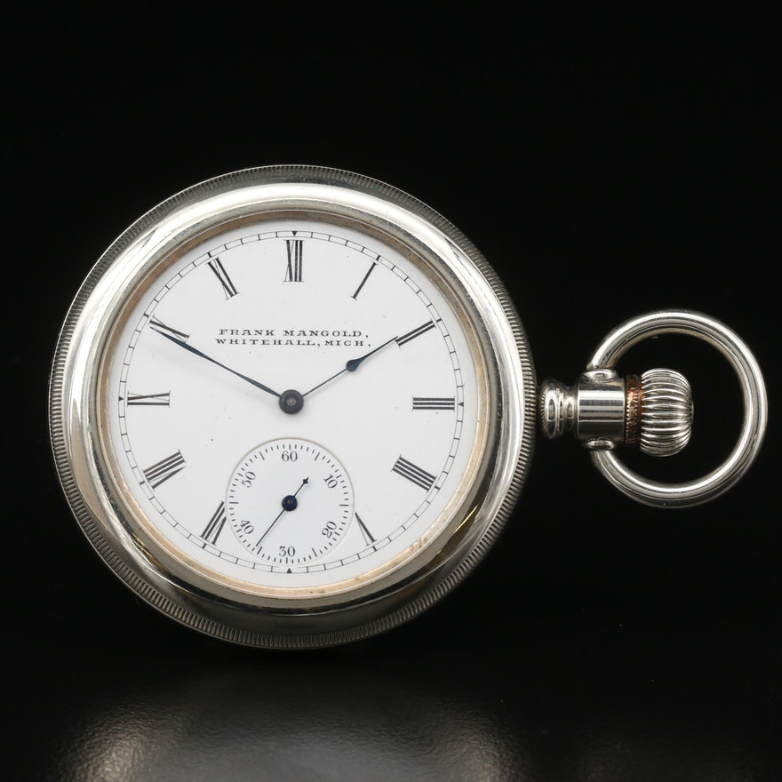 Elgin for Frank Mangold Whitehail, Michigan Nickel Side Winder Pocket Watch