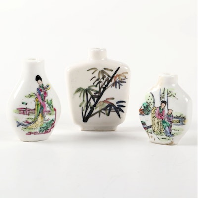 Chinese Hand-Painted Porcelain Snuff Bottles, Early to Mid 20th Century