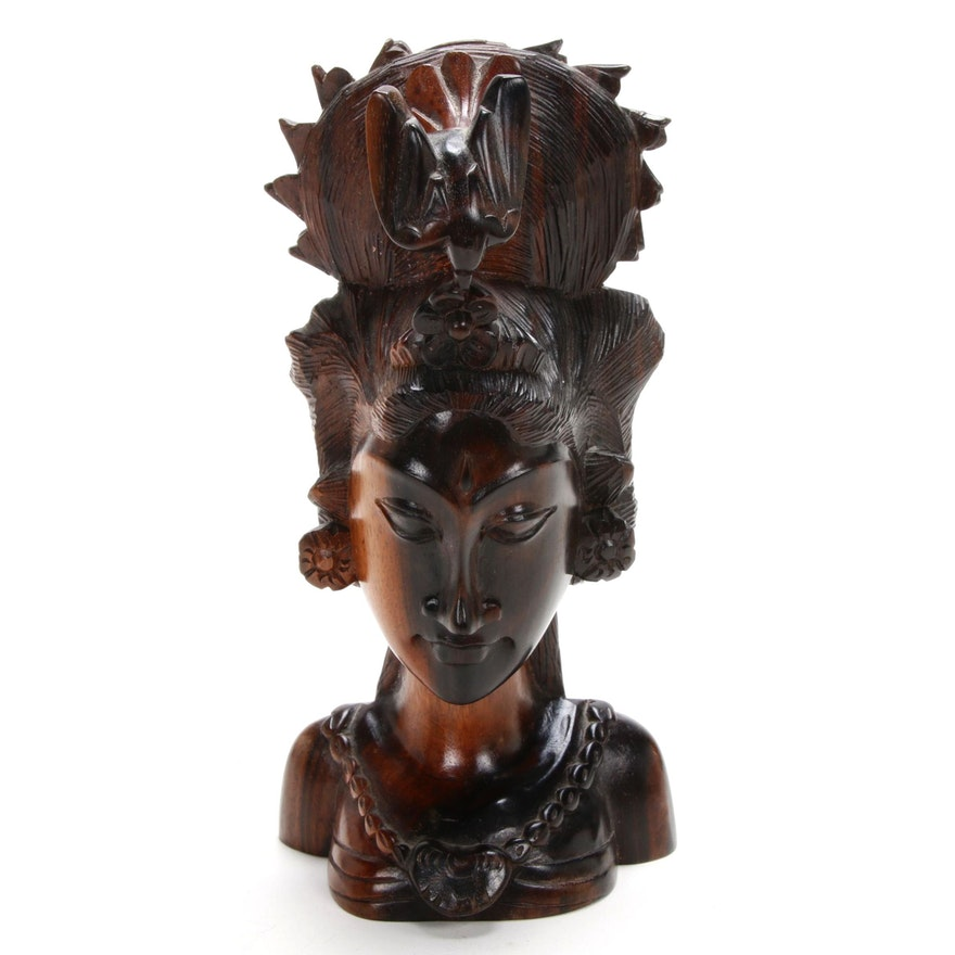 East Asian Carved Wood Bust of Woman with Bird Headdress