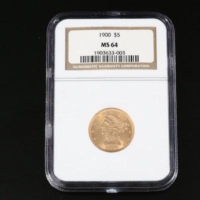 NGC Graded MS64 1901 Liberty Head $5 Gold Half Eagle