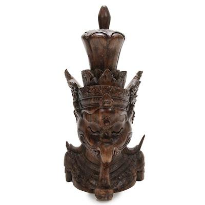 Hindu Wooden Bust of Ganesha