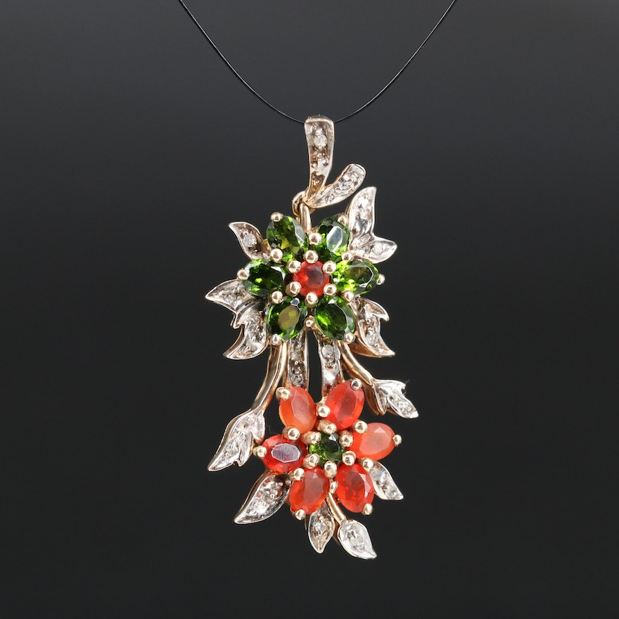 10K Diopside, Opal and Diamond Flower Pendant