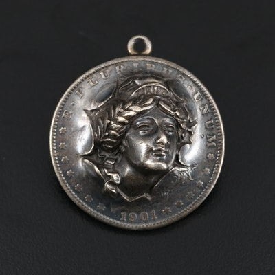 """Sterling Set Pendant with """"Punched out"""" 1901 Morgan Silver Dollar"""