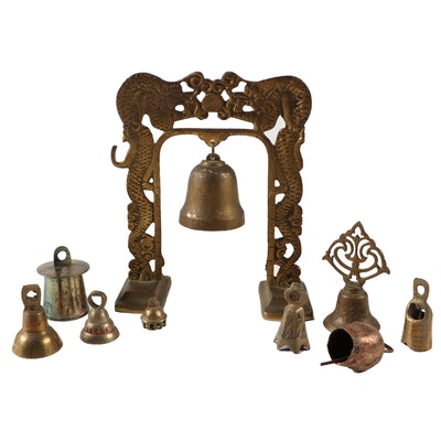 South Korean and Indian Celebratory Brass/Copper Bells, Mid-20th Century