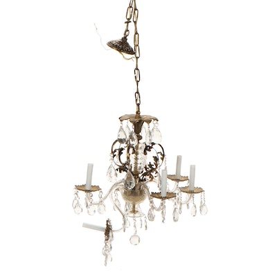 Rococo Style Gilt Metal and Crystal Chandelier with Crystal Drops