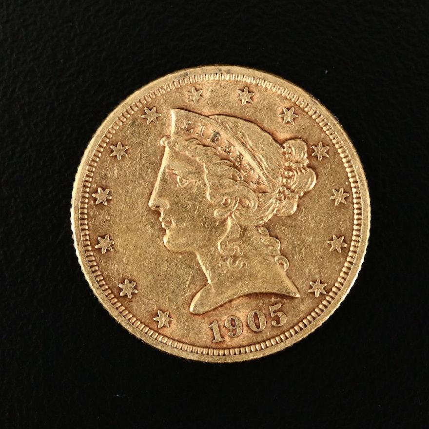 1905-S Liberty Head $5 Gold Half Eagle