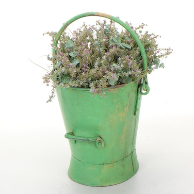 Rustic Galvanized Painted Metal Bucket with Faux Flowers