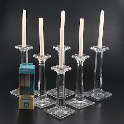 "Heisey ""Aristocrat"" Glass Candlesticks and Other Candlesticks with LED Candles"
