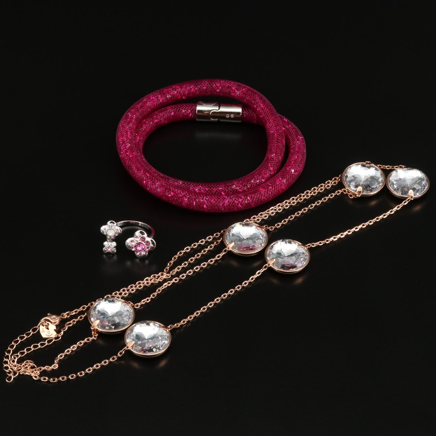 """Swarovski Crystal Jewelry Featuring """"Cherie"""" Ring and """"Globe Strandage"""" Necklace"""