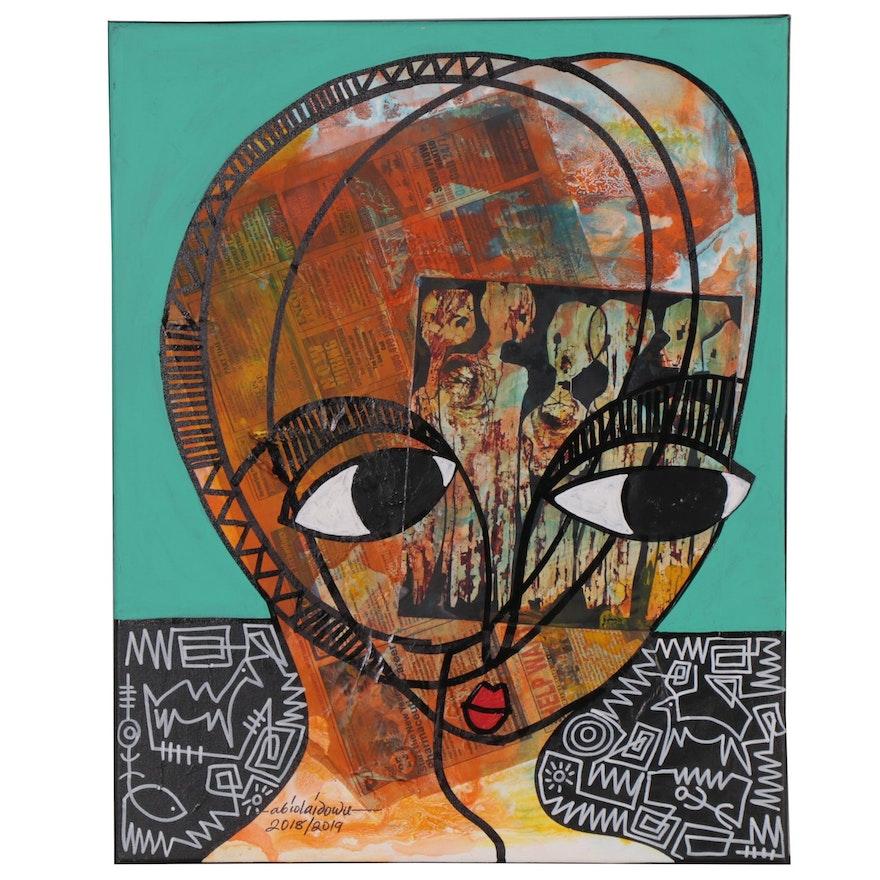 """Abiola Idowu Mixed Media Painting """"Phenomenal"""""""