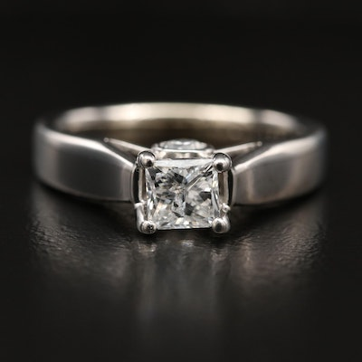 14K Diamond Cathedral Ring with Profile Diamonds