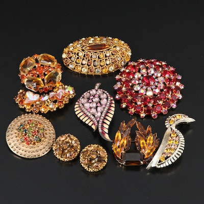Selection of Jewelry Featuring Rhinestone Earrings and Austrian Brooches