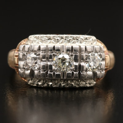 Vintage 14K Diamond Ring with Palladium Accent
