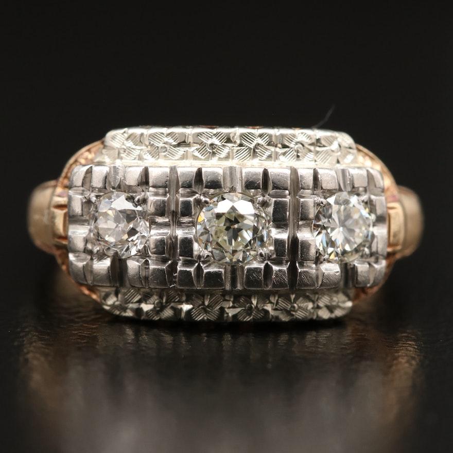 Vintage 14K Diamond Ring with Palladium Accent