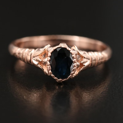 10K Rose Gold Sapphire Ring
