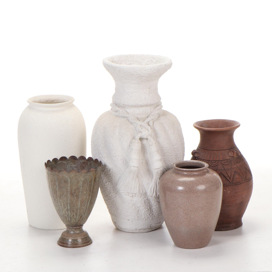 Metal and Ceramic Vase Collection, Contemporary