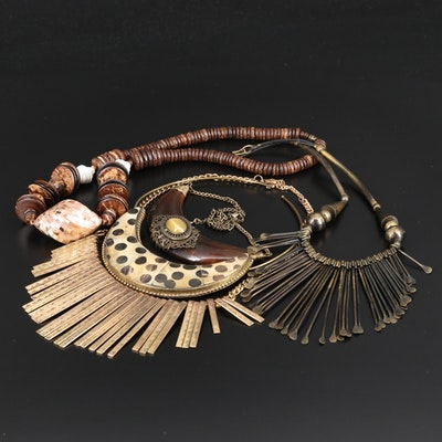 Assorted Bone, Mother of Pearl and Shell Necklaces Including Bib Style Necklaces