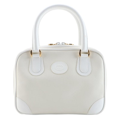 Gucci Satchel in Off-White Grained Leather and White Smooth Leather