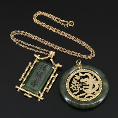 Bamboo and Dragon Nephrite Pendants with Singapore Chain