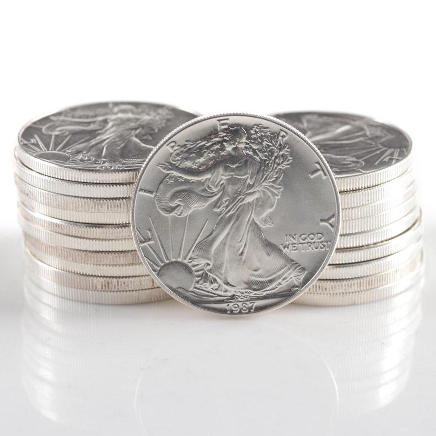 Twenty 1987 American Silver Eagle Bullion Coins