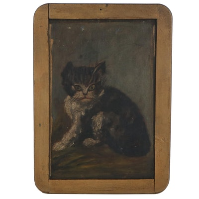 Folk Art Oil Painting of Tabby Cat, 19th Century
