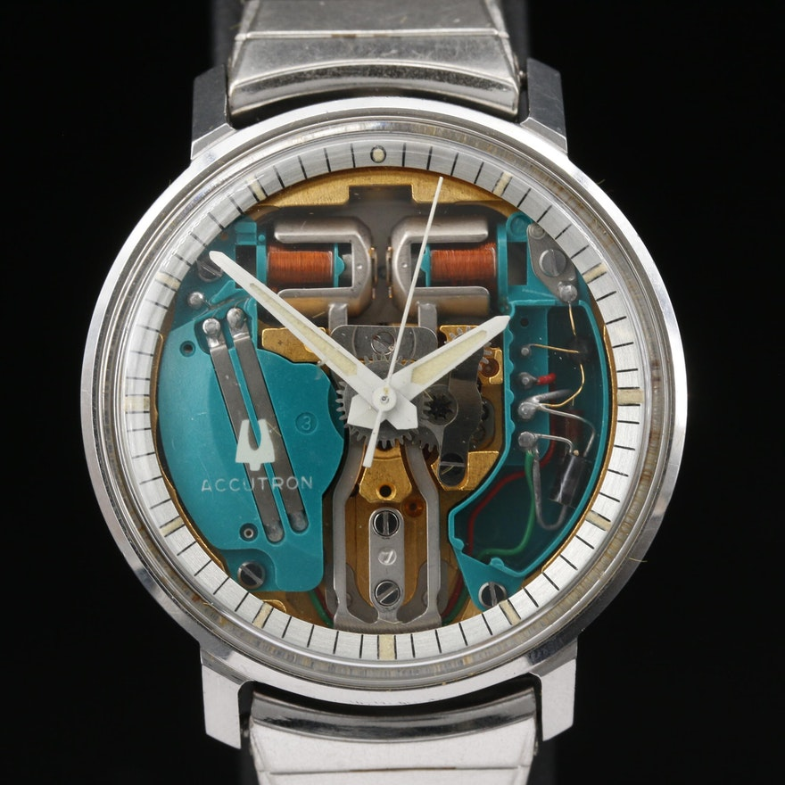 """1971 Bulova Accutron SpaceView """"G"""" Stainless Steel Tuning Fork Wristwatch"""