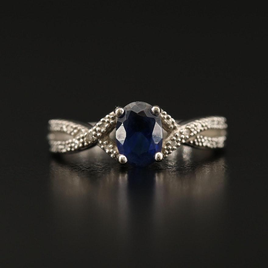 10K Sapphire and Diamond Split Shank Ring