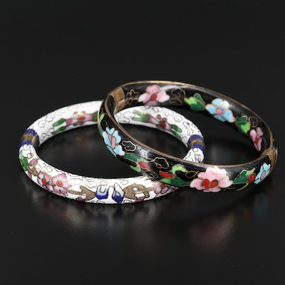 Hinged Bangles Featuring Floral Enamel Patterns