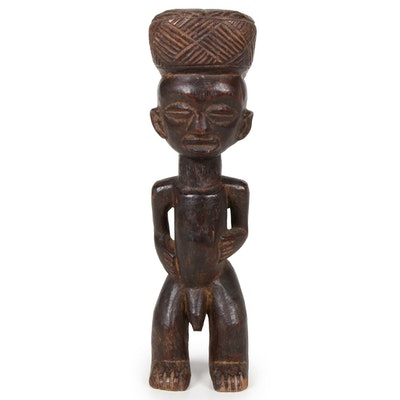 Lwena Style Wooden Standing Male Figure Sculpture, Central Africa