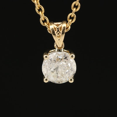 18K 1.14 CT Diamond Solitaire Pendant Necklace