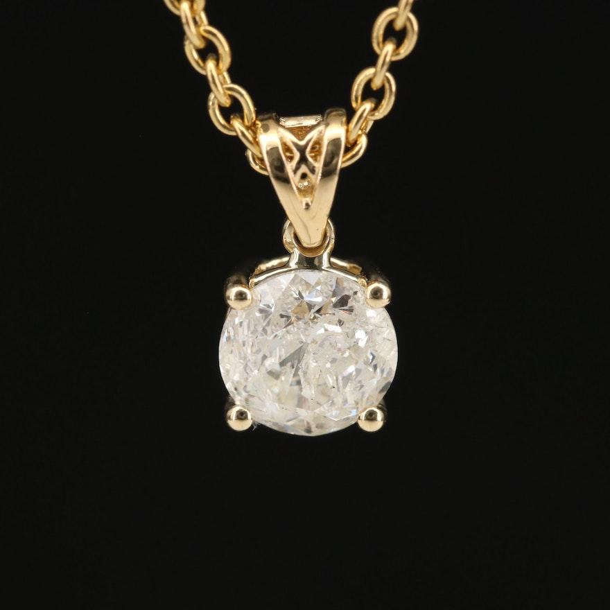 18K 1.14 CT Diamond Solitaire Pendant Necklace