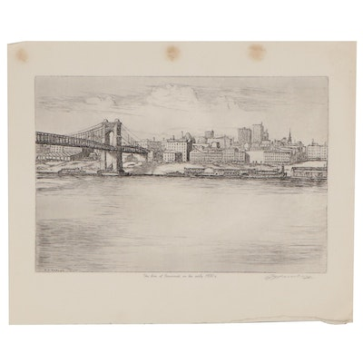 "Edward T. Hurley Etching ""Sky Line of Cincinnati in the Early 1900's"""