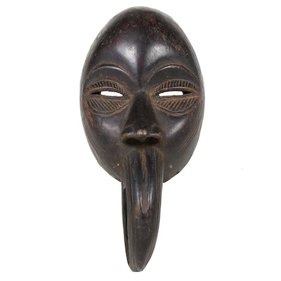 Dan Style Carved Wooden Mask with Bird Motif, West Africa