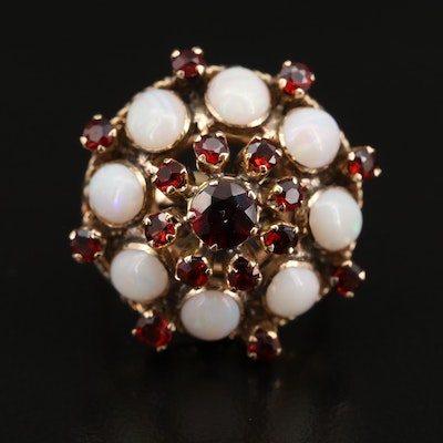 10K and 14K Garnet and Opal Ring with Scrollwork Gallery