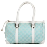 Gucci Satchel in Aqua Blue GG Canvas and White Leather
