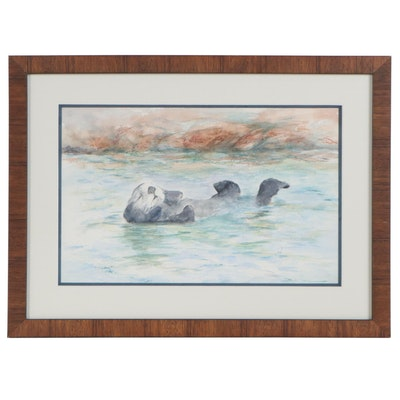 Judy Whittaker Watercolor Painting of Otter, 21st Century