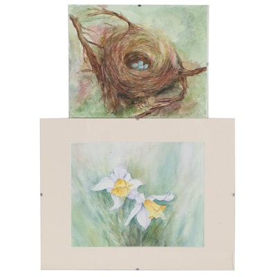Judy Whittaker Watercolor Paintings of Bird's Nest and Daffodils