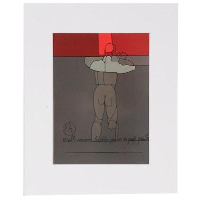 """Valerio Adami Offset Lithograph for """"Derrière le Miroir,"""" 1973"""