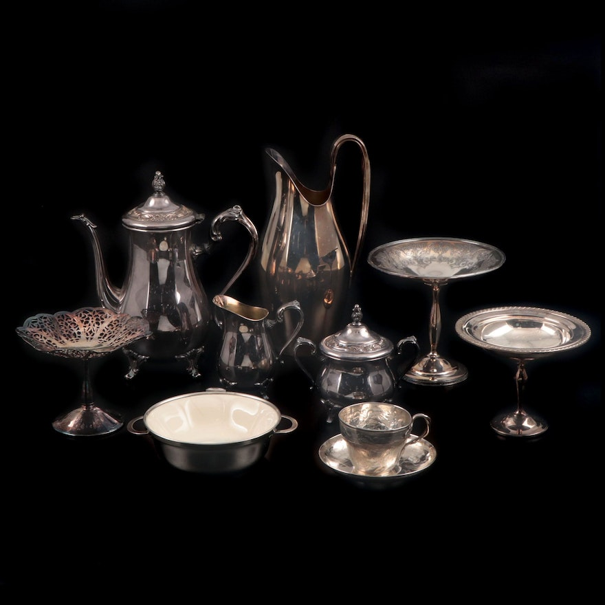 Wm Rogers Coffee Pot, Creamer, and Sugar, Gorham Pitcher and Other Silver Plate