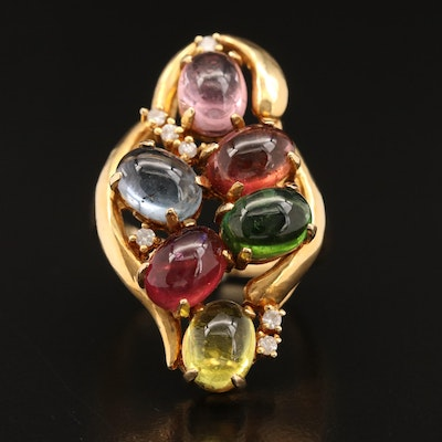 18K Multi-Colored Tourmaline and Diamond Openwork Ring