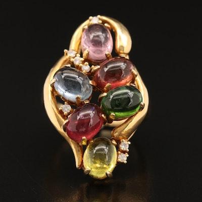 18K Multi-Colored Tourmaline and Diamond Openwork Ring