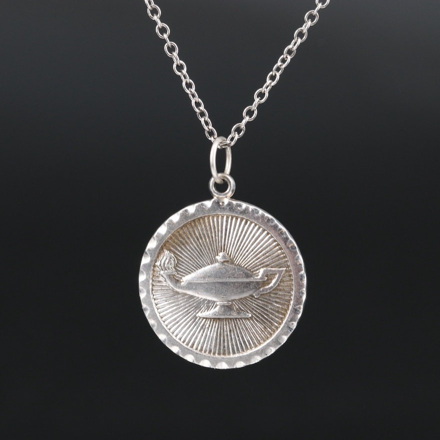 Sterling Silver Genie Lamp Pendant Necklace
