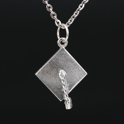 Sterling Silver Graduation Cap Pendant Necklace