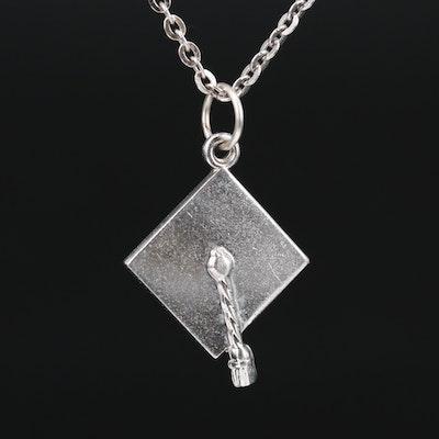 Sterling Silver Graduation Cap Pendant Necklace