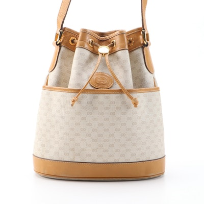 Gucci Micro GG Supreme and Tan Leather Drawstring Bucket Bag