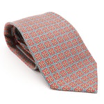 Hermès 7265 MA Interlocking Geometric Patterned Silk Twill Hand-Stitched Necktie