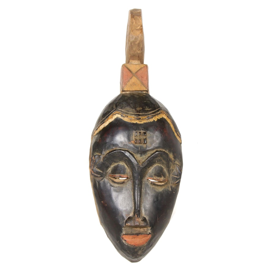 Guro Style Carved Wood Polychrome Mask, Côte d'Ivoire
